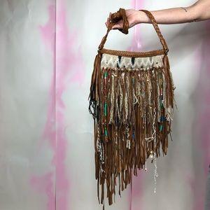 En Shalla Fringe Beaded Braided Leather Handmade B